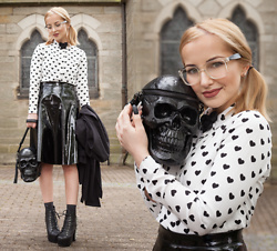 Julia Loewenherz - Vintage Clear Square Glasses, H&M Black Hearted Crop Blouse, Missguided Mikako Pvc Full Midi Skirt, Jeffrey Campbell Shoes Lita Black Leather Spike, Killstar Grave Digger Skull Handbag - ♫ Zolita- ☾Holy ♀