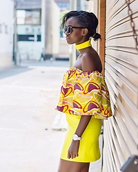 Wanjiku Esther - River Island Leather Skirt, Daniel Wellington Watch - African print + Leather