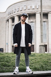 Kevin Elezaj - New Balance Sneakers, H&M Suit Pants, Cos Sweater, Urban Outfitters Coat, Urban Outfitters Cap - Press days - part two