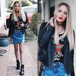 Laura Simon - Zara Destroyed Denim Skirt, River Island Black Cut Out Boots, Ed Hardy Black Top, Na Kd Black Choker, Y.A.S. Black Jacket - When ed hardy is back in the game