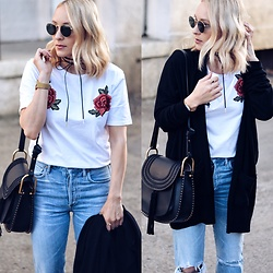 Lauren - Azalea Black Cardigan, Shein Rose Tshirt, Azalea Bow Choker, Chloé Chloe Bag - Roses are Red