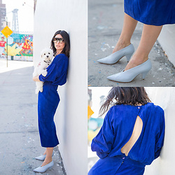 URBAN CREATIVI-TEA - Céline Sunglasses, Céline Shoes, Vintage Dress - Blue Suede Dress & West Street / urbancreativi-tea