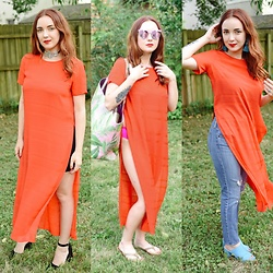 Cadyn Scott - Vince Camuto Red Tunic Dress, Asos Pink Leaf Print Beach Tote, Asos Art Deco Tie Choker, Asos Pipedream Black Heels, Asos Blue Mules, Quay Pink Mirrored Sunglasses - One Tunic: Three Ways (Going out, the beach, brunchin')