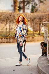Michaela Scalisi - Jacket, Matt&Nat Backpack, Topshop Jeans - Floral Focus Focus
