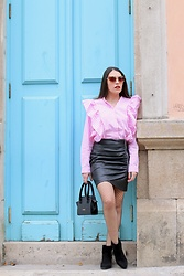 Natalia M - Shein Stripes Blouse, Shein Leather Skirt, Cuple Mini Bag, Krack Black Booties - LOVELY STRIPES SHIRT