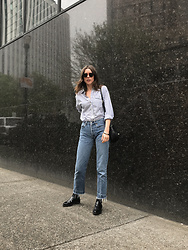 Katie Bauer - Thrifted Blouse, Levis 501 Jeans, Creatures Of Comfort Boots - Stripes