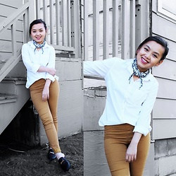 MC Y - Target White Button Up, Black Loafer Mules, Yellow Skinny Pants - Loafer Mules for Spring