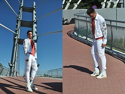 Pawel - Dsquared2 Jacket, J.J. Dyone T Shirt, Humör Pants, Adidas Sneakers - Me in white/may