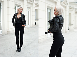 MONIKA S - Leather Biker Jacket, Lace Satin Strappy Top, High Waisted Pants, Leather Ankle Boots - GOLDEN LIGHT