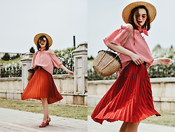 Andreea Birsan - Straw Hat, Gingham Off Shoulder Top, Red Pleated Midi Skirt, Woven Bag, Leather Double G Buckle Belt, Pink Horsebit Loafers, Pink Bandana, Pink Tinted Sunglasses - The go-to print for spring 2017