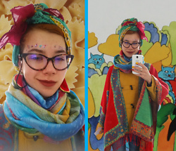 Hanoshka - Human Ice Cream Rainbow Pashmina Shawl - I'm not wearing the rainbow, I am the rainbow.