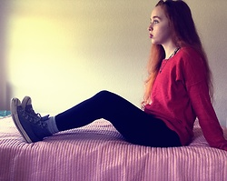 Emily Elizabeth - Target Red Sweater, Black Shorts, Black Leggings, Converse Navy - Amy Pond Aesthetic