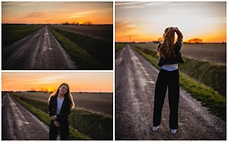 Josefine ☆ - H&M Leather Jacket, H&M Black Pants, Atmosphere Striped Top, White Sneakers - Countryside