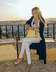 Tijana J.D - Dolce & Gabbana Black Sunglasses, Tintoretto Navy Trench Coat, Primark Scarf, Non Branded White T Shirt, Daniel Wellington Brown Watch, Parfois Yellow Backpack, H&M White Skinny Jeans, Tex Golden Flats - Lisbon, Portugal