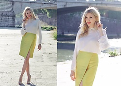 Eleonora Albrecht - Vipme Yellow Skirt, Vipme White Blouse - Yellow lime skirt mood