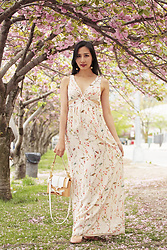 Tina Lee - Forever 21 Ball Drop Earrings, Niels Peeraer Bow Bag, Dolce & Gabbana Mary Jane Pumps, Zara Floral Maxi Dress - Spring Days with Cherry Blossoms