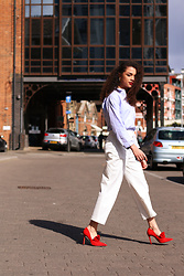 Charnelle Gardiner - Next Chambray Shirt, Next White Tailored Trousers, Next Red Frill Court Heels - Spring Summer Tailoring