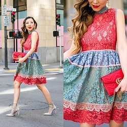 Sasa Zoe - Dress, Earrings, Heels, Bag - PRETTIES MULTICOLOR LACE