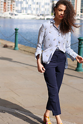 Charnelle Gardiner - New Look Stripe Bird Print Shirt, New Look Navy Tailored Trousers, New Look Brocade Heels - Tonal Tailoring