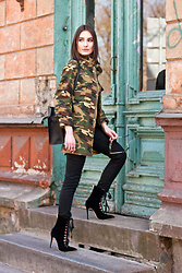Anna Puzova - Zaful Jacket, Gamiss Boots, Sammydress Bag, Whistle + Bango Bangles - CAMO JACKET AND LACE UP BOOTS