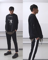 ★masaki★ - Ch. Linen Bomber, Joy Division Closer, H&M Layer, Asos Line Pants, Dr. Martens Made In England 3hole - Trash style 132