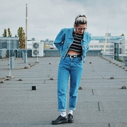 Mia-Brett Ashley - Brimestone Shoes, Vintage Jeans, Zara Crop Top, Witboy Jacket - Denim On Denim