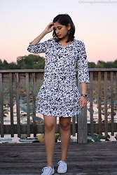 TheVagabondWayfarer - Keds White Sneakers, Graphic Print Dress - Dress with sneakers