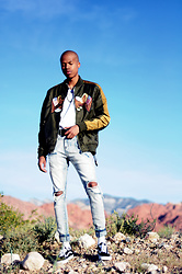 Dominic Grizzelle - Profound Co Flying Eagle Bomber, Profound Co Stone Wash Destroyed Denim, Vans Old Skools - Flying Eagle