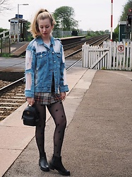 Bec Oakes - Topshop Denim And Organza Jacket, Topshop Plaid A Line Skirt, Mcm Mini Backpack, Topshop Star Print Tights, Marks & Spencer Chelsea Boots - Denim + Tartan