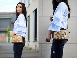 Sandy L. - Zara Top, Zara Bag - Blue Volant Sleeves