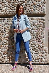Amina Allam - Minkpink Denim Jacket, Gioseppo Sandals - Light My Fire denim jacket