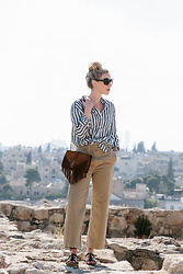 Meagan Brandon - Linen Shirt, Wide Leg Chinos, Ysl Fringe Bag - Linen Stripes & Wide Leg Chinos