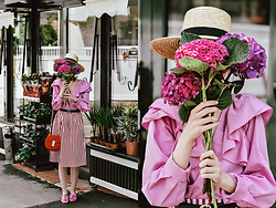 Andreea Birsan - Pink Frilled Shirt, Straw Boater Hat, Striped Midi Skirt, Red Crossbody Bag, Pink Embroidered Mules, Gucci Belt - The lady in pink & red