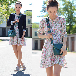 Iva K - Cocopat Bag, Zara Blazer - Blazer & floral dress