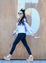 Natalia M - Mango Piercing Bag, Shein Blue Blouse, Pull & Bear Skinny Jeans, Olivia Lang Wedges, Pull & Bear Sunnies - BOLSO PIERCING