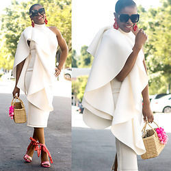 Monica Awe-Etuk - White Dress, Straw Bag, Pink Shoes - AWED BY MONICA: WHITE RUFFLES AND PINK DETAILS