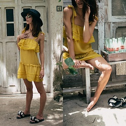 Kiara Schwartz - Tularosa Dress, Rag And Bone Hat - Mellow Yellow