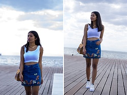 Konstantina Antoniadou - H&M Embroidered Skirt (Similar 1), Forever 21 Embroidered Skirt (Similar 2), Zulily Embroidered Skirt (Similar 3), Boohoo White Top, Gili Crop Top (Similar Color), Rocket Dog White Sneakers Similar - Embroidered denim skirt