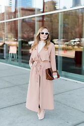 Ashley Hutchinson - Shein Draped Trench Coat, Zara Brown Clutch, Dune London Pale Pink Pumps, French Connection Crochet Knit Turtleneck, Céline White Sunglasses - Pink Draped Trench Coat