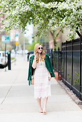 Ashley Hutchinson - Veda Green Suede Moto Jacket, Asos White Lace Midi Dress, Stuart Weitzman Cork Pumps, Alexander Wang Studded Mini Crossbody Bag - Spring Lace & Suede