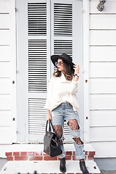 Daniela Ramirez - Forever 21 Sweater, Forever 21 Lace Tights, Ted Baker Bag - Lace tights under ripped jeans