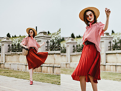 Andreea Birsan - Red Pleated Midi Skirt, Off Shoulder Gingham Top, Pink Loafers, Woven Bag, Boater Straw Hat, Pink Tinted Glasses, Pink Scarf, Gucci Belt - Gingham love