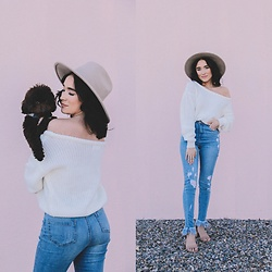 Karissa Marie - Missguided White Sweater, Missguided Jeans - Simple + Minimal Look