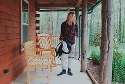 Jenny C. - Plaid Flannel, Light Wash Boyfriend Jeans, Adidas Nmd - Cabin Fever