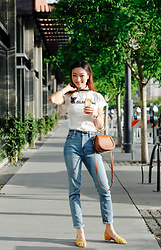 Qianwen Chen - J. Crew T Shirt, Urban Outfitters Girlfriend High Rise Jean, Madewell Sandal In Suede, Chloe Nile - On Island Time