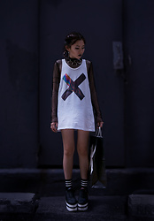 Morbid Grime - The Xx White Printed Tank Top, Yru The Qozmo Shoe, Triple Ring Choker, Black Body Fishnet - COEXIST