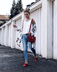 Romina M. - New Look Mules, Yves Saint Laurent Bag, New Look 2 Color Jeans, New Look Kimono - Red Moment