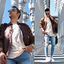 Franko Dean - Asos Bomber Jacket, Forever 21 Ripped Jeans, Ray Ban Round Sunglasses, Adidas Sneakers, Forever 21 Simple Tee - LACMA