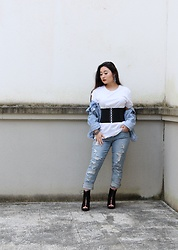 Kristen Tanabe - Forever 21 Men's Basic White Tee, Topshop Denim Jacket, Rachel By Roy Distressed Jeans, Bcbgmaxazria Waist Belt, Burberry Lace Up Booties - Denim Daze