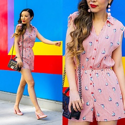 Sasa Zoe - Romper, Heels, Earrings, Bag - FUN IN THE SUN